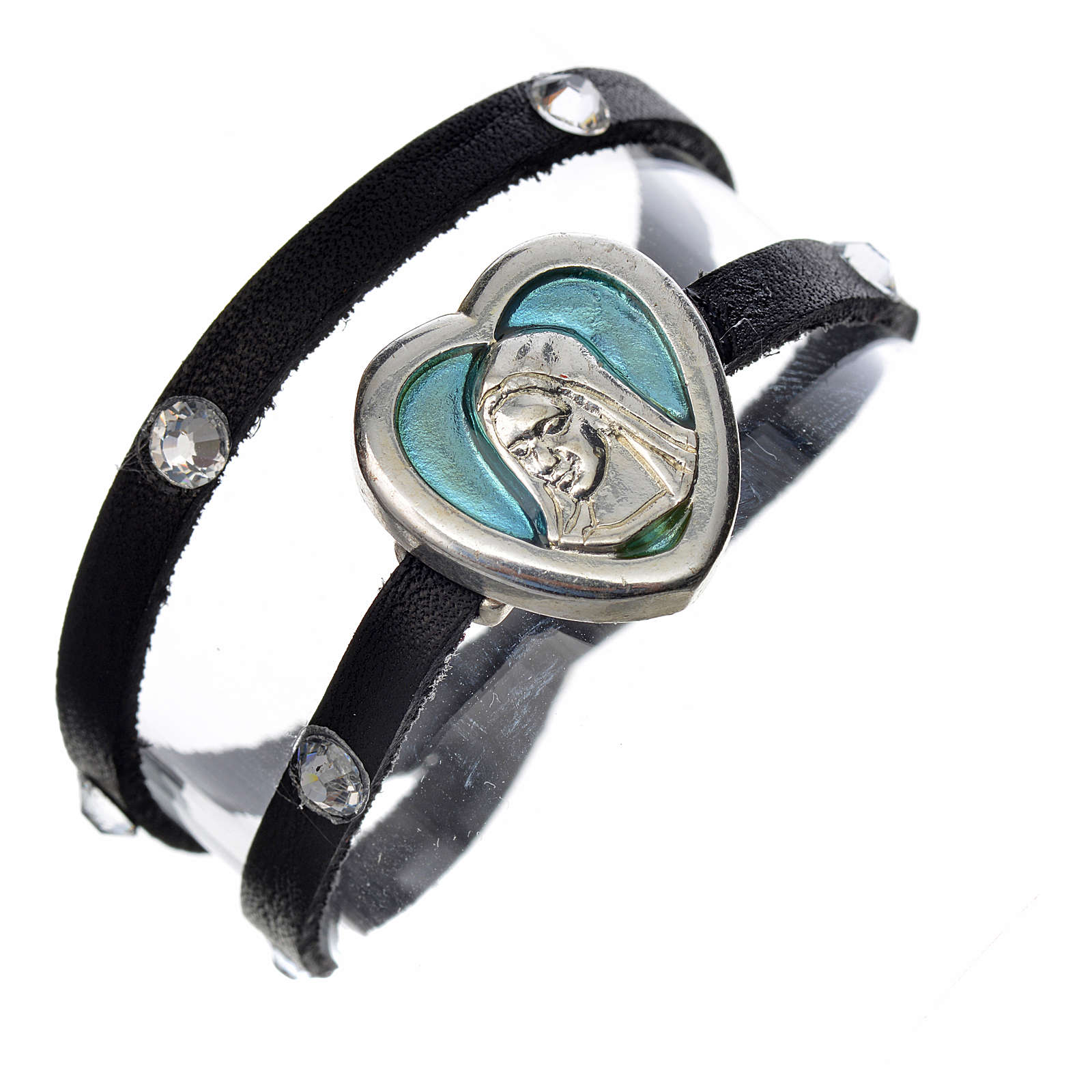 Bracelet black leather Swarovski Virgin Mary pendant blue enamel 4