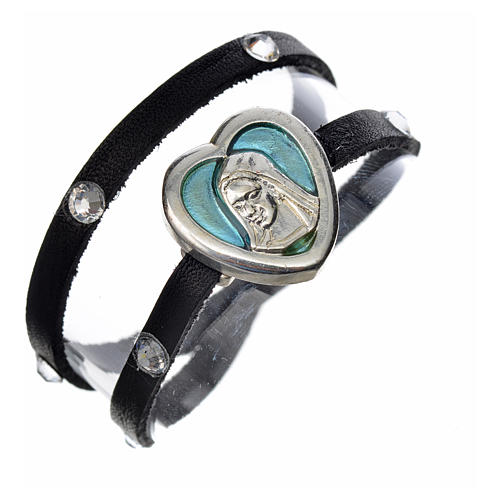Bracelet black leather Swarovski Virgin Mary pendant blue enamel 1