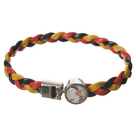 Braided bracelet, 20cm Pope Francis yellow, black, red s1