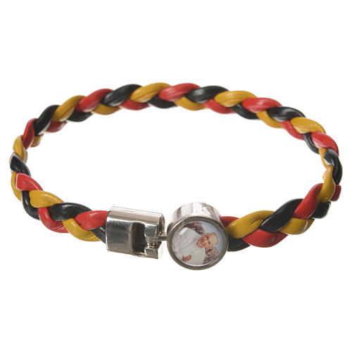 Braided bracelet, 20cm Pope Francis yellow, black, red 1
