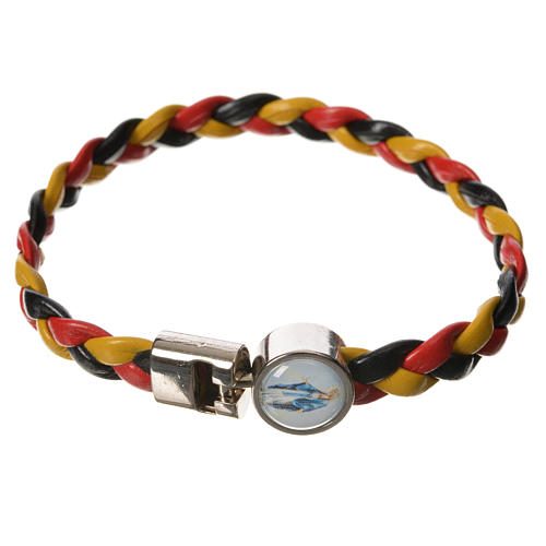 Braided bracelet, 20cm Pope Francis yellow, black, red 3