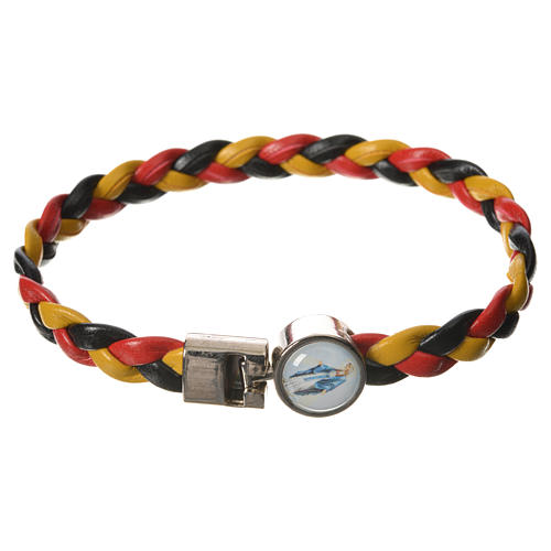 Braided bracelet, 20cm yellow, black, red Miraculous Medal 1