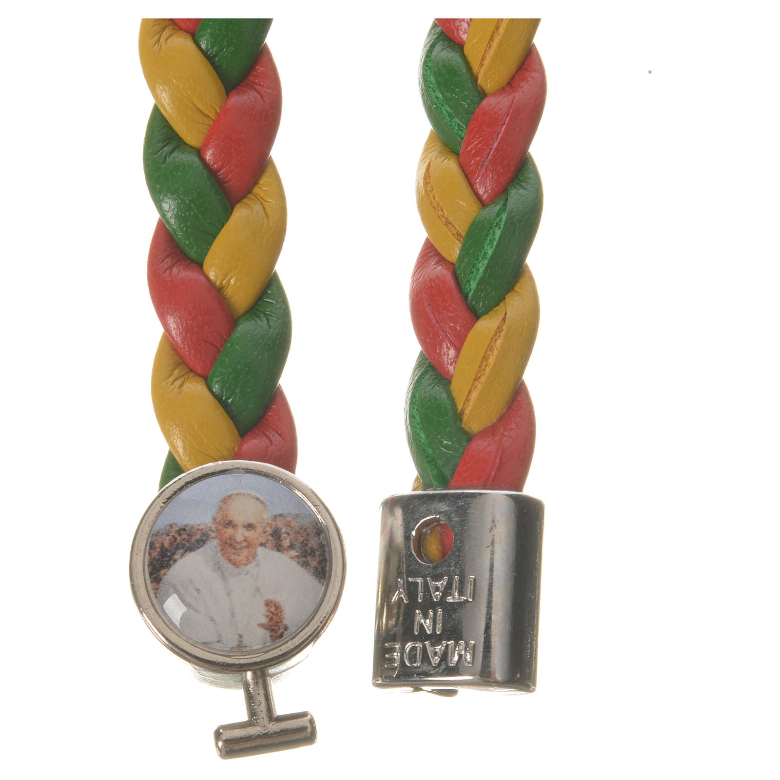 Braided bracelet, 20cm red, yellow and green with Pope Francis 4