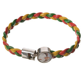 Braided bracelet, 20cm red, yellow and green with Pope Francis s1