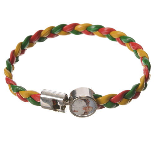 Braided bracelet, 20cm red, yellow and green with Pope Francis 1
