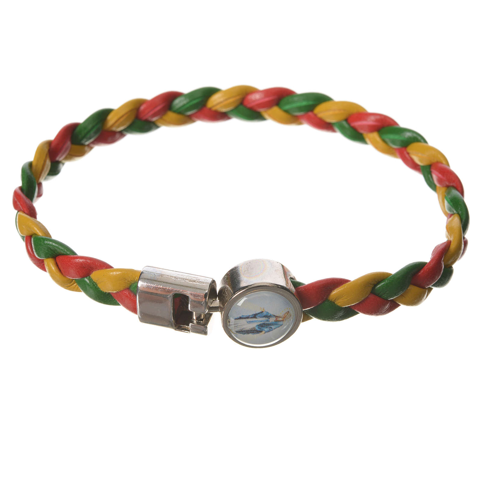 Braided bracelet, 20cm red, yellow, green Miraculous Medal 4