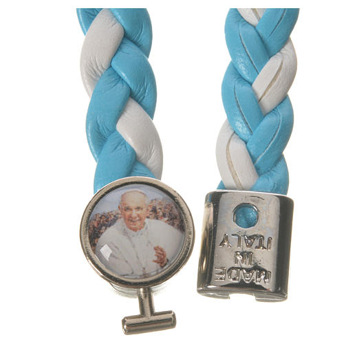 Braided bracelet, 20cm Pope Francis, white and light blue 2