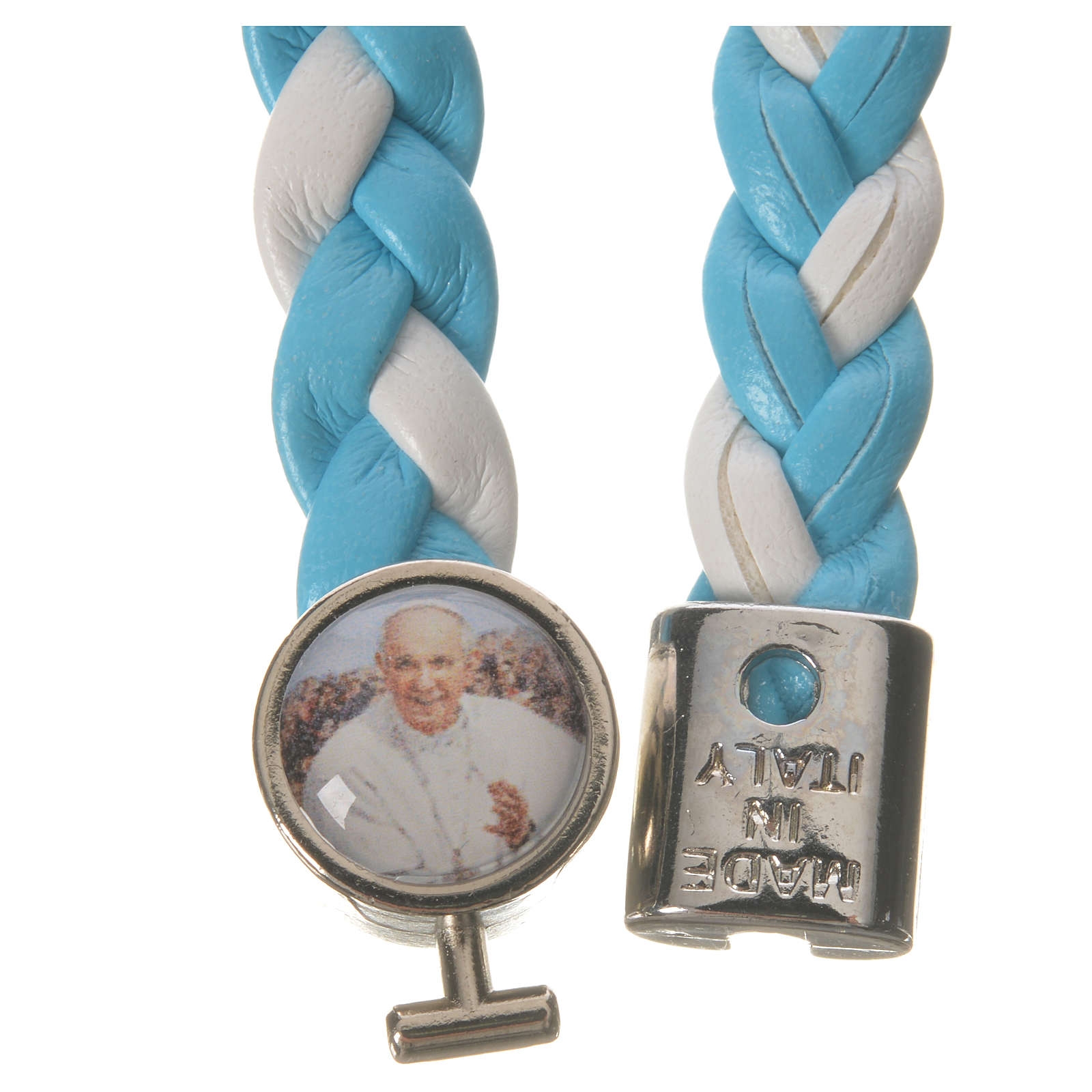Pulsera entrelazada 20cm Papa Francisco celeste blanca 4