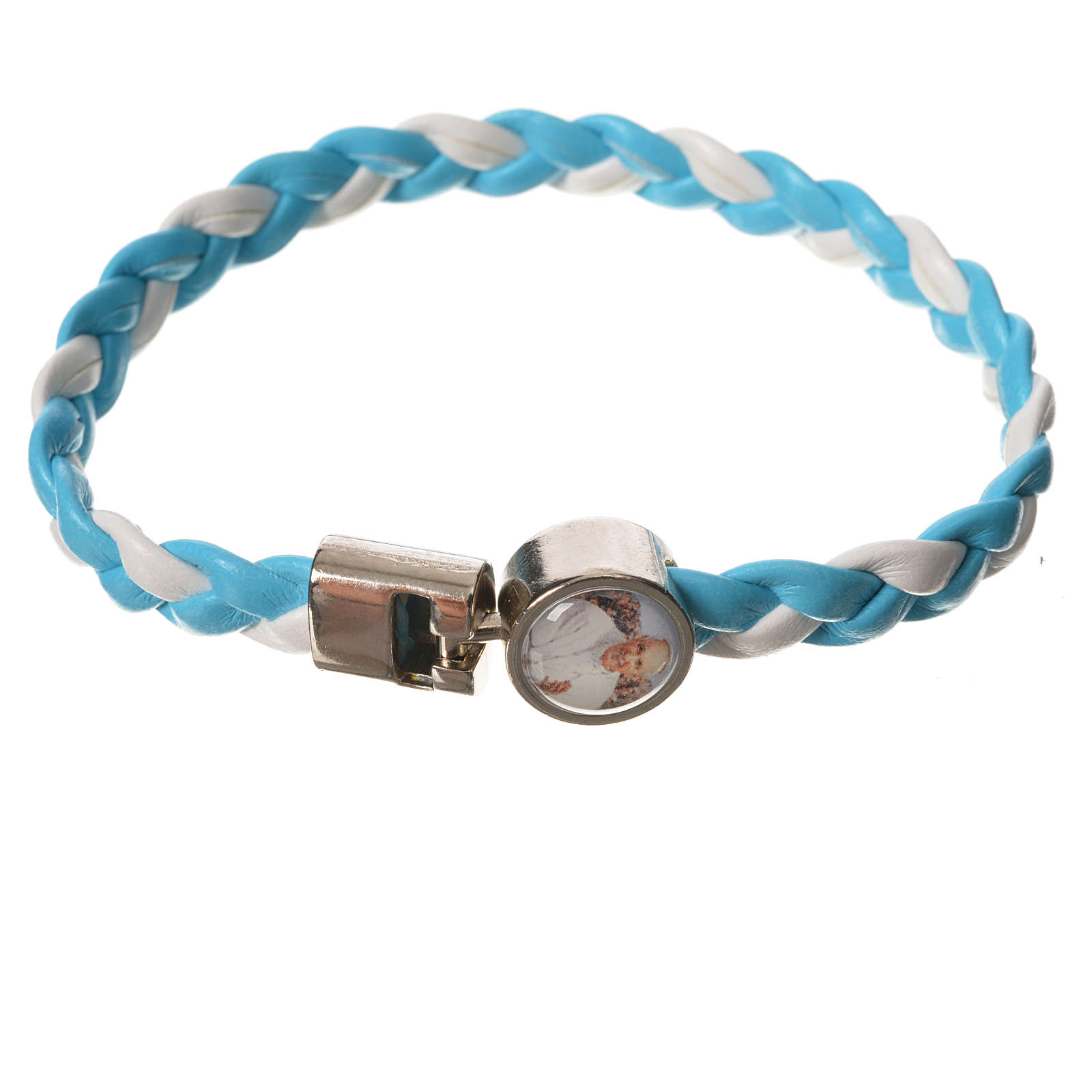 Braided bracelet, 20cm Pope Francis, white and light blue 4