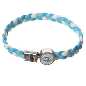 Braided bracelet, 20cm white and light blue Miraculous Medal s1