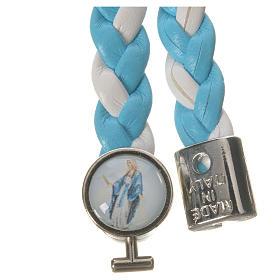 Braided bracelet, 20cm white and light blue Miraculous Medal s2