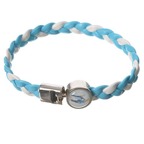 Braided bracelet, 20cm white and light blue Miraculous Medal 1