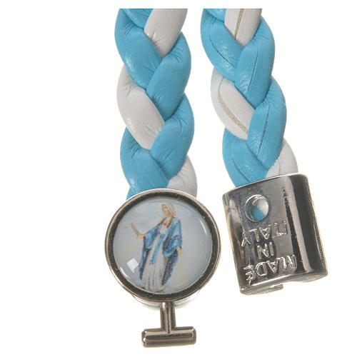 Braided bracelet, 20cm white and light blue Miraculous Medal 2