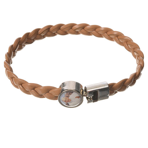 Braided bracelet, 20cm tan colour with Pope Francis 1