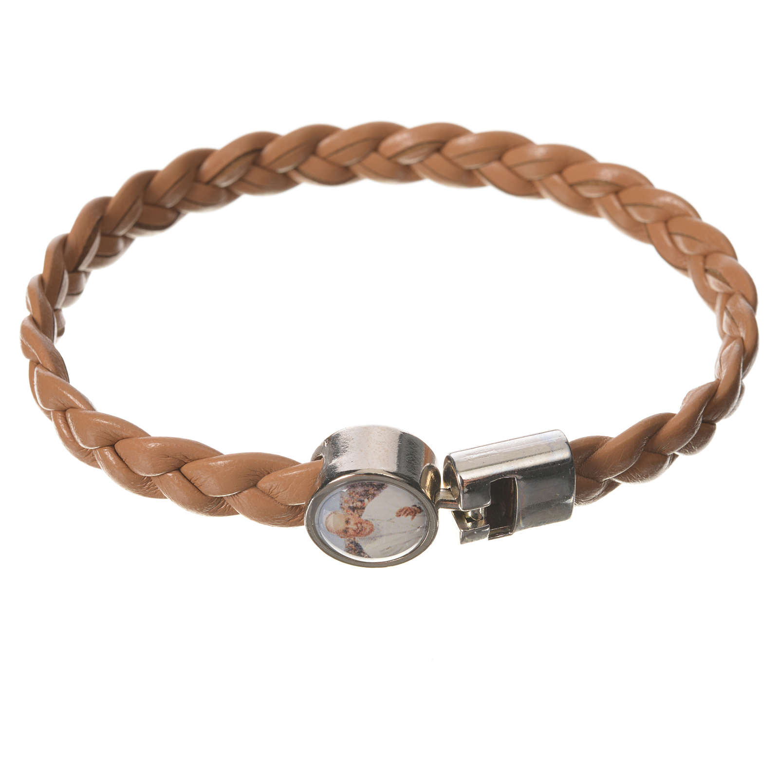 Braided bracelet, 20cm tan colour with Pope Francis 4