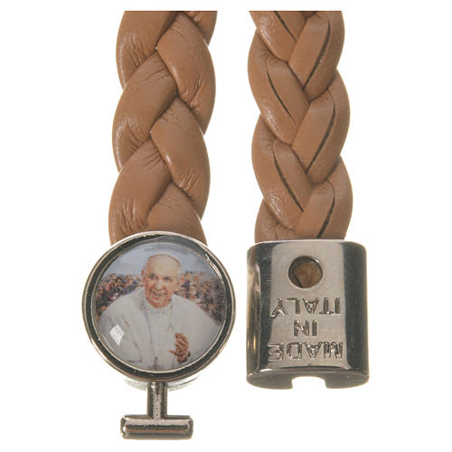 Braided bracelet, 20cm tan colour with Pope Francis 2