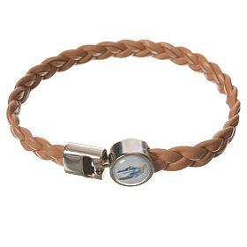 Braided bracelet, 20cm tan colour Miraculous Medal s1