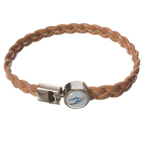Braided bracelet, 20cm tan colour Miraculous Medal 1