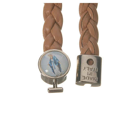 Braided bracelet, 20cm tan colour Miraculous Medal 2