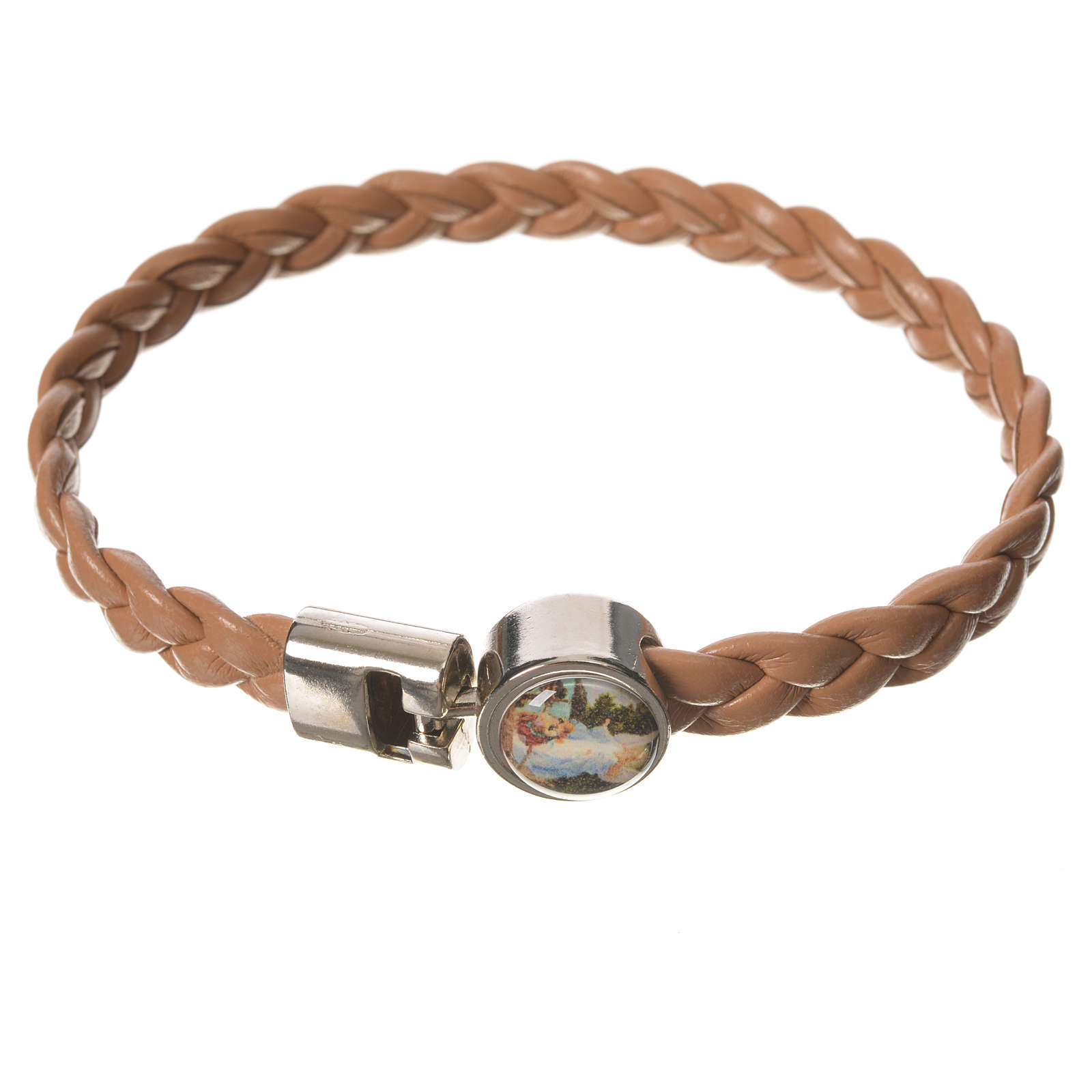 Braided bracelet, 20cm tan colour with Angel 4