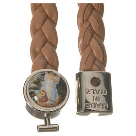Braided bracelet, 20cm tan colour with Angel s2