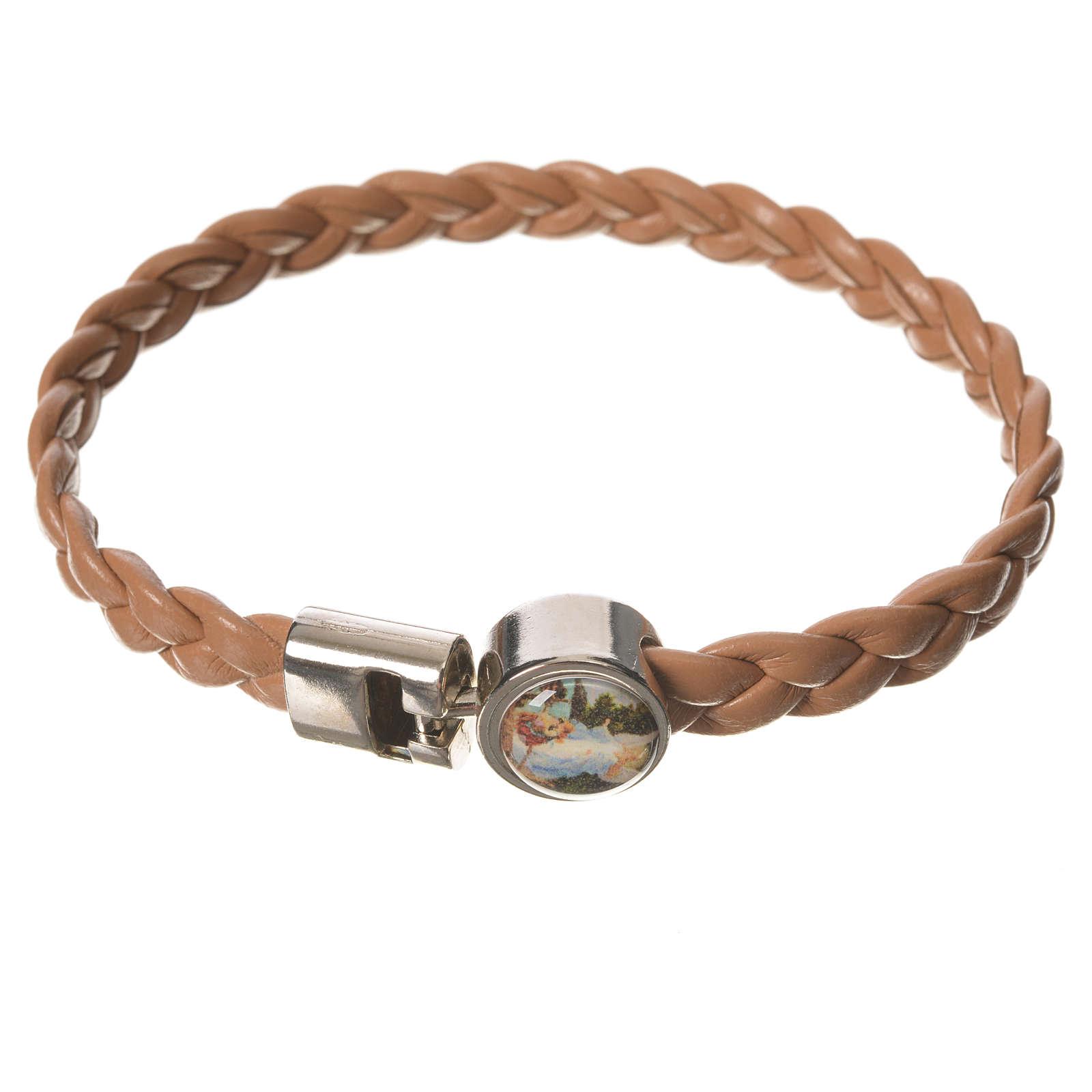 Bracelet tressé 20 cm Ange couleur cuir 4