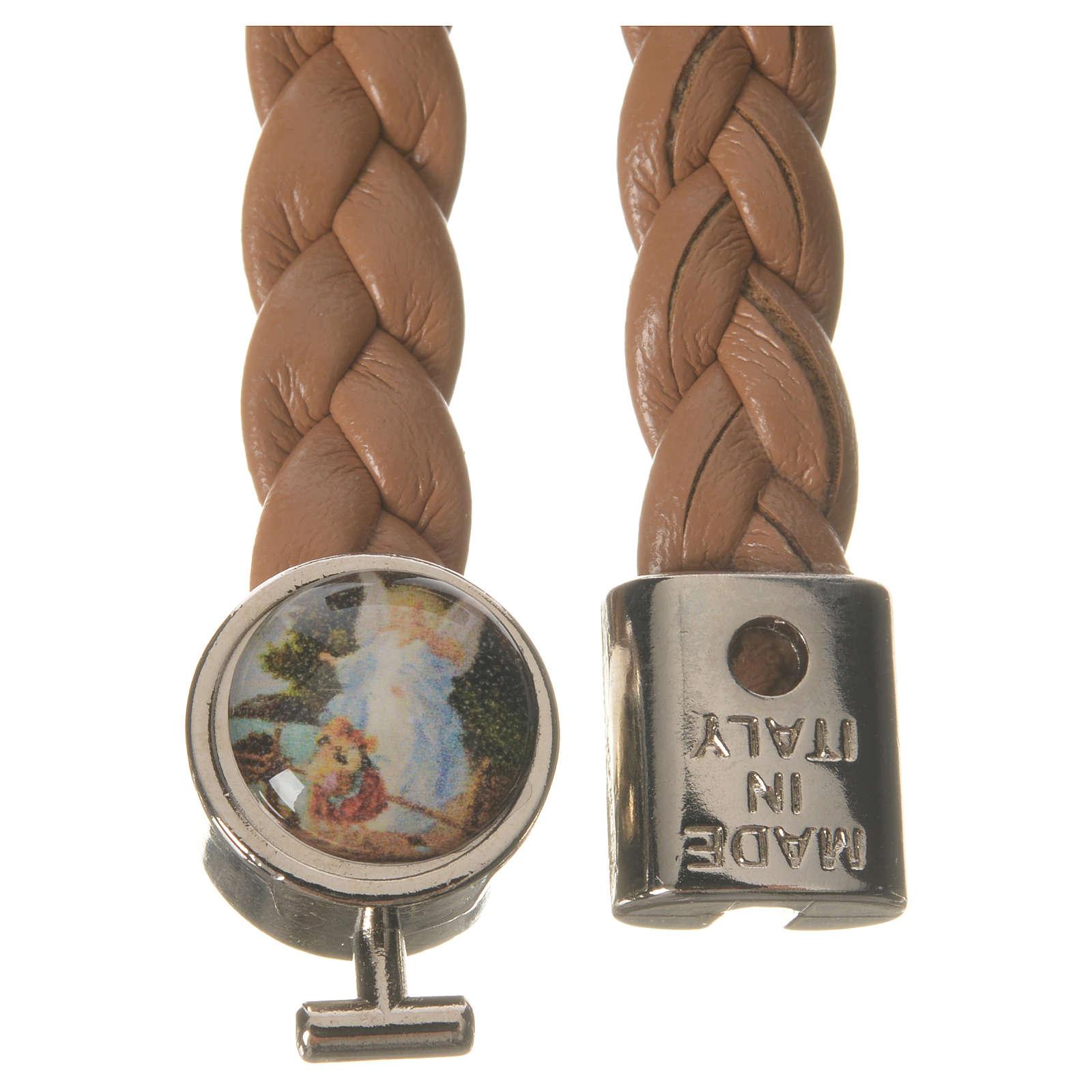 Braided bracelet, 20cm tan colour with Angel 4