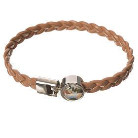 Braided bracelet, 20cm tan colour with Angel s1