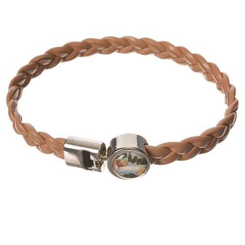 Braided bracelet, 20cm tan colour with Angel 1