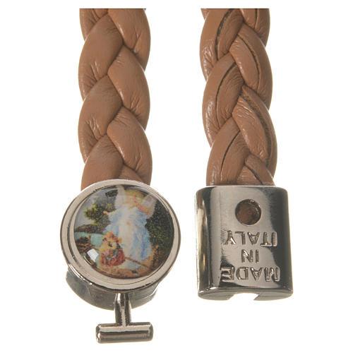 Braided bracelet, 20cm tan colour with Angel 2