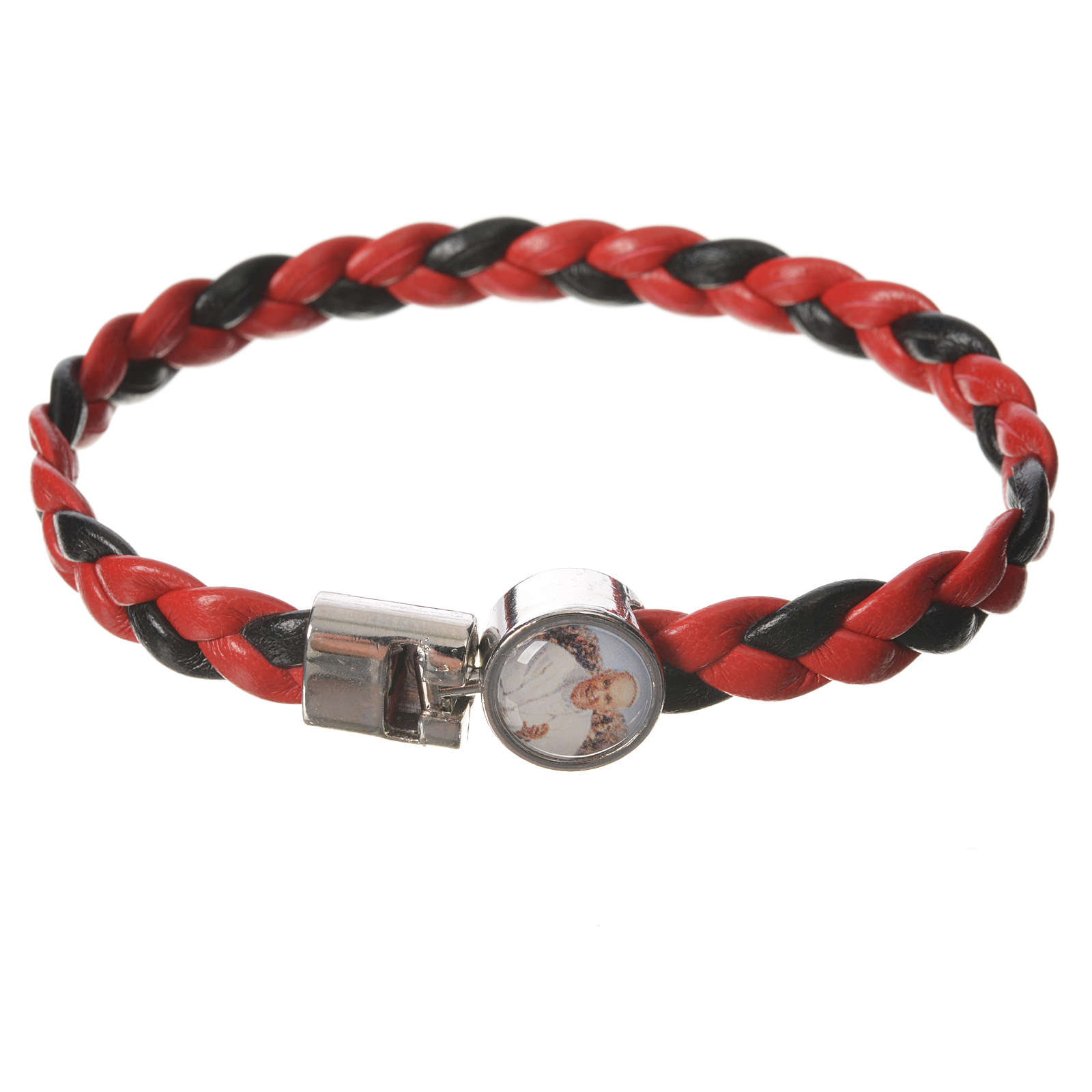 Braided bracelet, 20cm red and black with Pope Francis 4