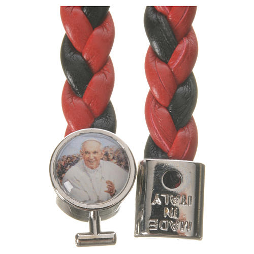Braided bracelet, 20cm red and black with Pope Francis 2