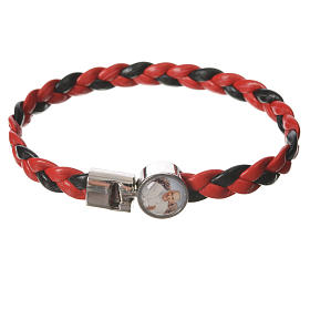 Braided bracelet, 20cm red and black with Pope Francis s1