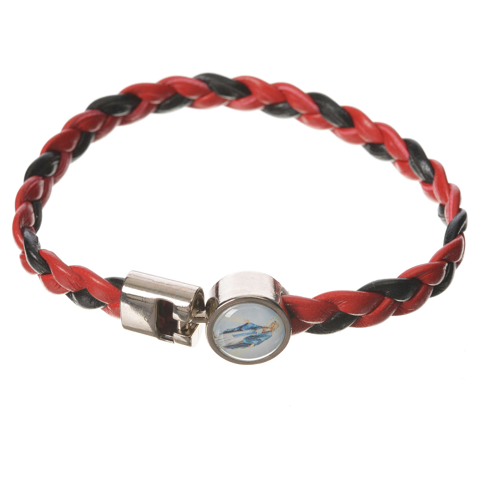 Braided bracelet, 20cm red and black with Miraculous Medal 4