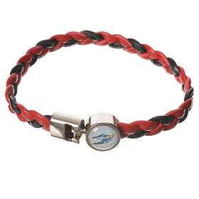 Braided bracelet, 20cm red and black with Miraculous Medal s1