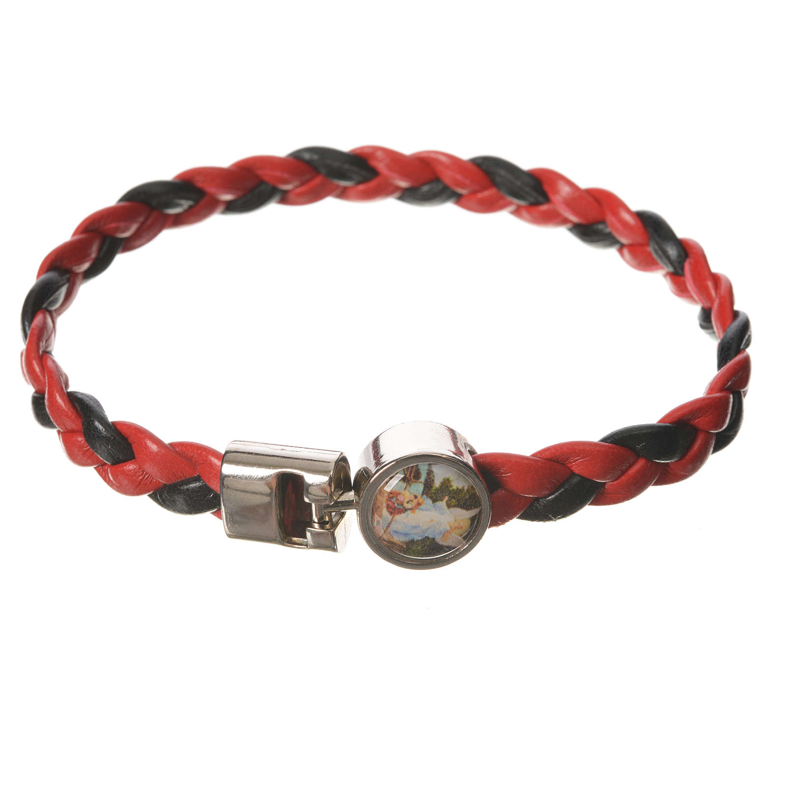 Bracciale intrecciato rosso nero 20cm Angelo 4