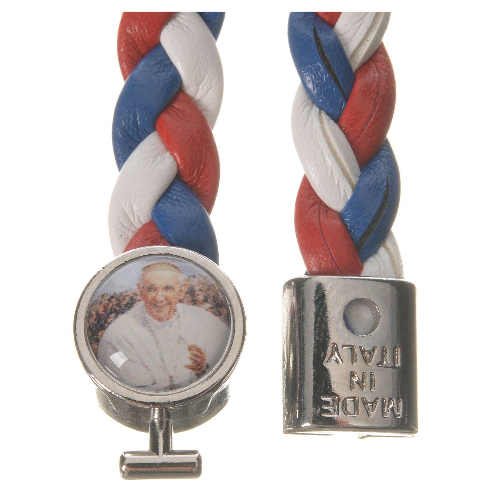 Braided bracelet, 20cm white, red, blue with Pope Francis 4