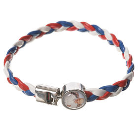 Braided bracelet, 20cm white, red, blue with Pope Francis s1