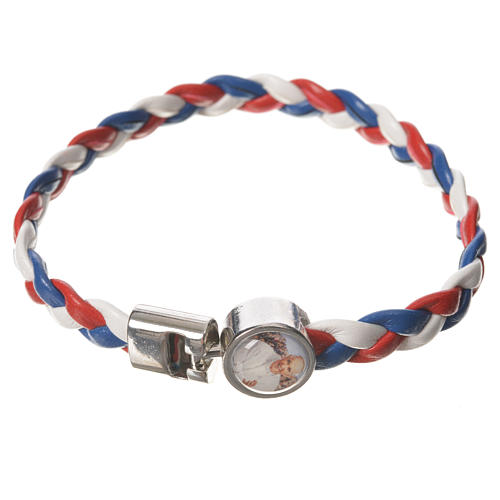 Braided bracelet, 20cm white, red, blue with Pope Francis 1