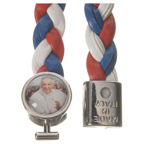 Braided bracelet, 20cm white, red, blue with Pope Francis 2