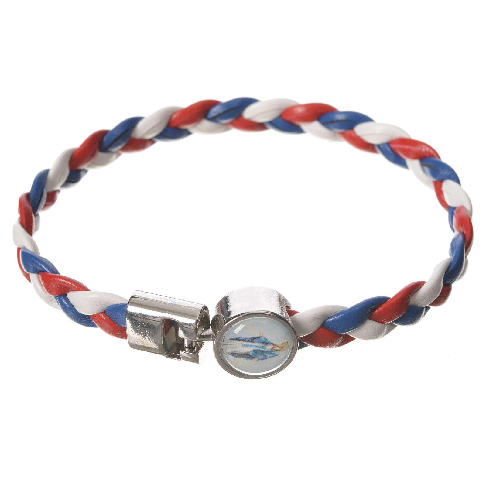 Bracciale intrecciato bianco rosso blu 20cm Miracolosa 4