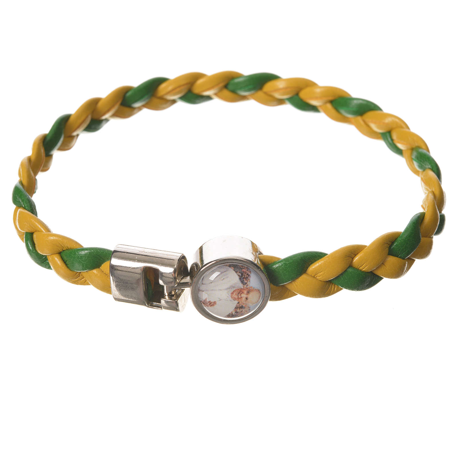 Braided bracelet, 20cm green and yellow with Pope Francis 4