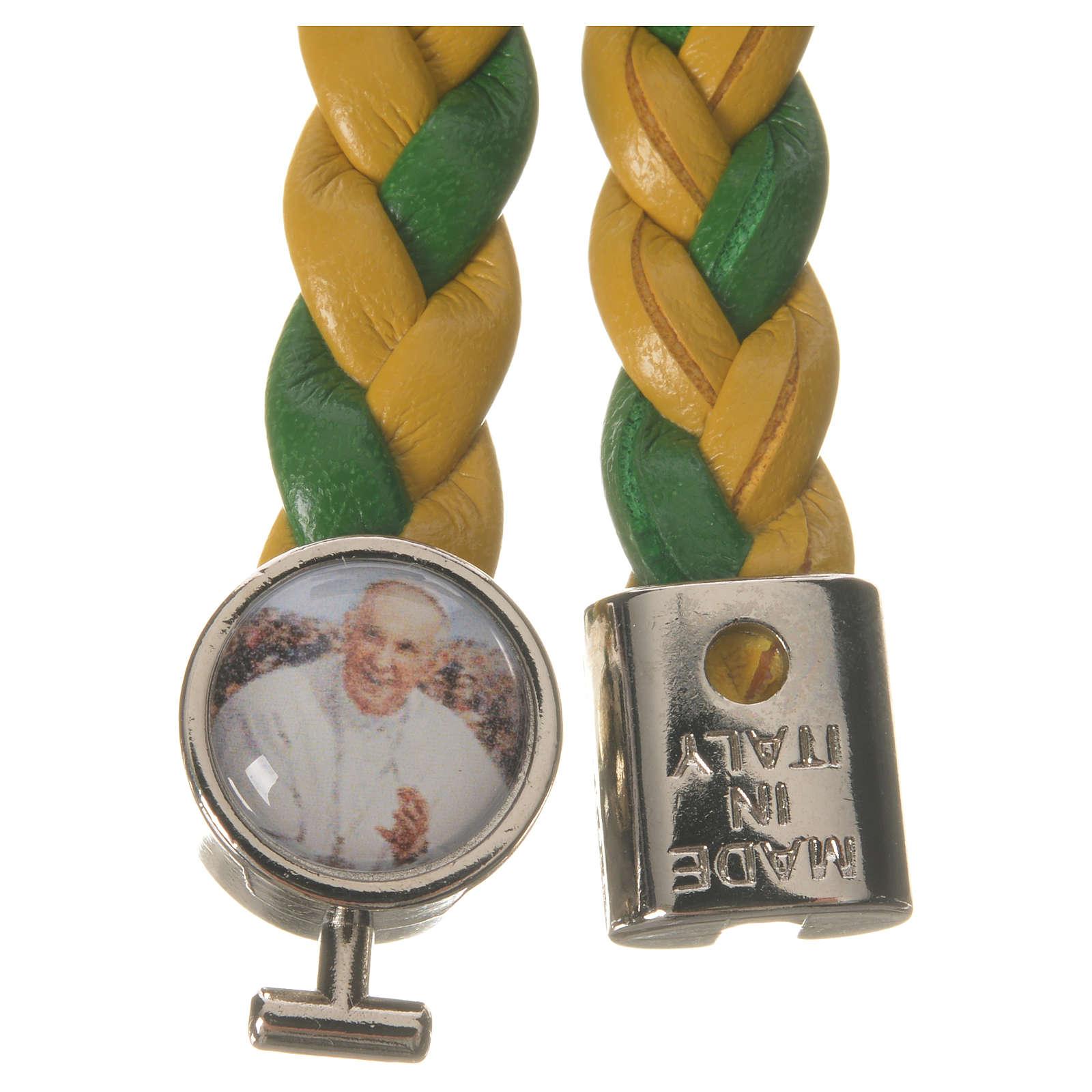 Bracciale intrecciato 20cm Papa Francesco giallo verde 4