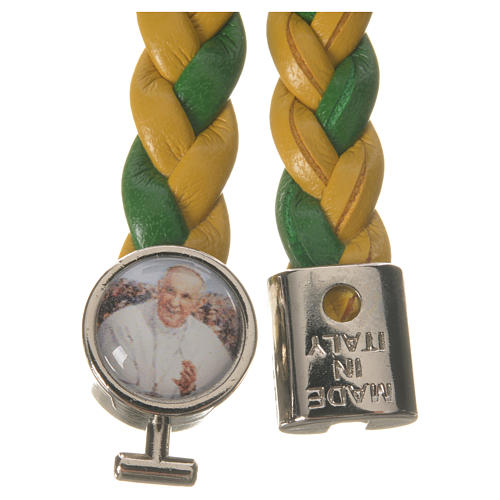 Braided bracelet, 20cm green and yellow with Pope Francis 2