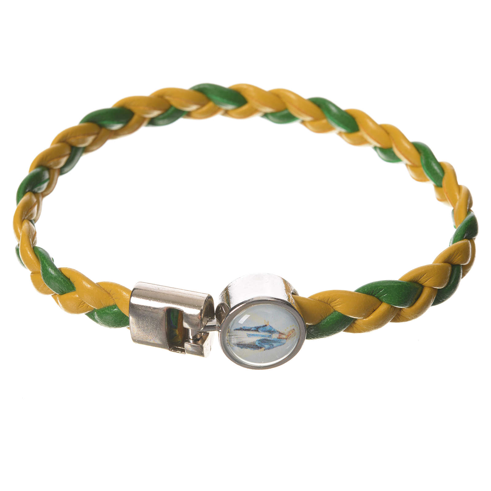 Bracelet tressé 20 cm Vierge Miraculeuse jaune/vert 4