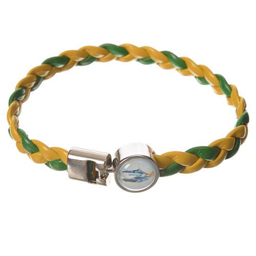 Bracelet tressé 20 cm Vierge Miraculeuse jaune/vert 1