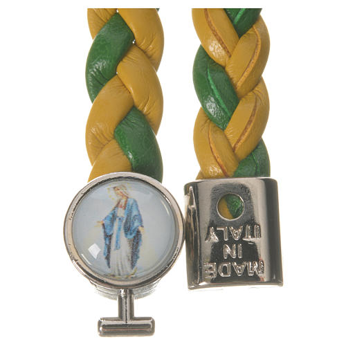 Bracelet tressé 20 cm Vierge Miraculeuse jaune/vert 2
