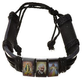 Pulseiras Variadas: Pulseira imitação de couro hematita São Pio