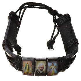 Various bracelets: Bracelet in fake leather and hematite, S. Pio model