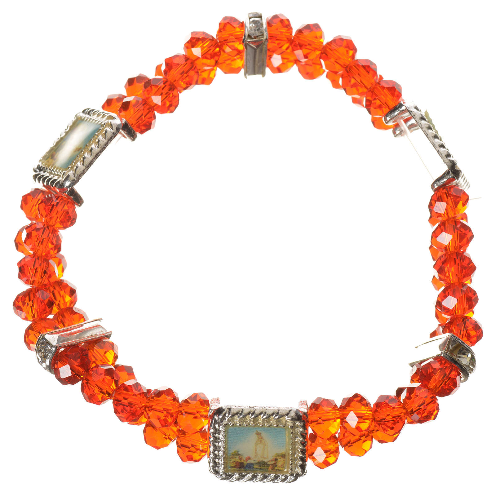 Bracelet élastique verre Cristal 6 mm rouge 4
